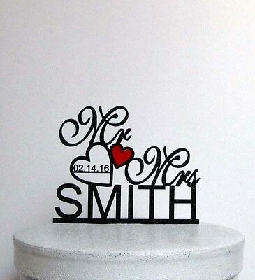 Personalized Wedding Cake Topper - Mr and Mrs Last Name and Wedding date with a