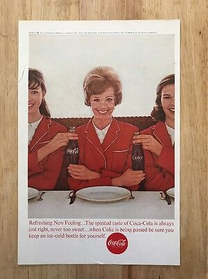 Coke Cola | 1963 Vintage Print Ad | Ice Cold Soda 1960s Woman Wearing Red