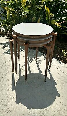 Set of 3 Mid Century Stack-able Nesting Tables Danish Style