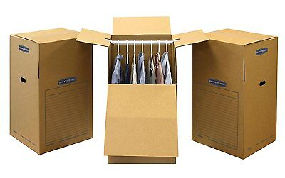"""Bankers Box SmoothMove Wardrobe and Moving Boxes  24"""" x 24"""" x 40"""" 3 Pack 7711001"""