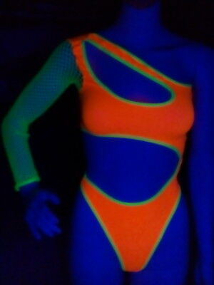 Neon Lycra teddy w/fishnet sleeve!  Exotic Clothing  Illuminating UV Glow