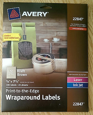 Avery 22847 Print-to-the-Edge Wraparound Labels,  Kraft Brown