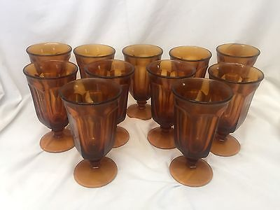 Set of 11 Imperial Glass Ohio OLD WILLIAMSBURG AMBER Iced Tea Water Glasses RARE