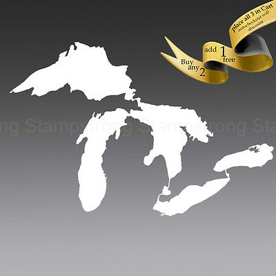 4 Inch GREAT LAKES MICHIGAN ERIE SUPERIOR HURON MIDWEST DECAL Sticker Truck Car