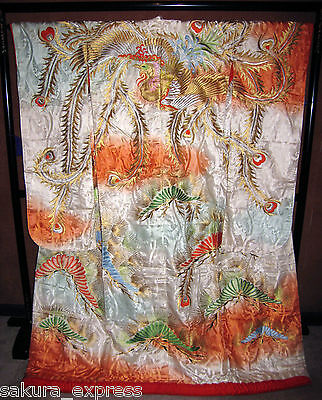 WALL HANGING ART DECOR KIMONO VINTAGE JAPANESE WEDDING UCHIKAKE - Flying phoenix