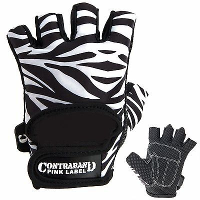 CLEARANCE 50% OFF!! Contraband Pink Label 5277 Zebra Print Lifting Gloves (PAIR)
