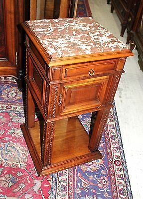 Antique French Walnut Renaissance Nightstand / Side Cabinet Lamp End Table