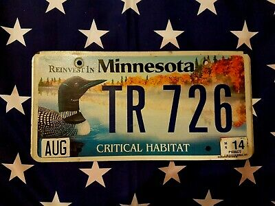 Plaque d immatriculation Minnesota TR-726 USA US License Plate