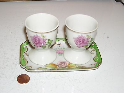 vintage Meiko China Rose small dish tray + 2 Egg Cups