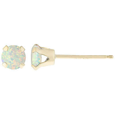 .10 CT Round 3MM Natural White Opal 14K Yellow Gold Stud Earrings