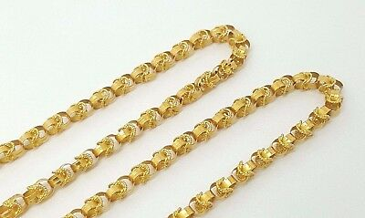 """Vintage Persian Handmade 18k Solid Yellow Gold Chain Necklace 26"""" 4MM Men/Women"""