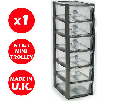 6 Drawer Silver Tower Unit -Plastic Drawers -Storage Organizer - Mini/Small