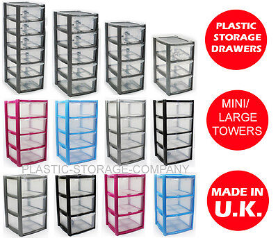 Plastic Storage Drawers - Mini/Large -Strong - Home -School - Multiples - Rattan