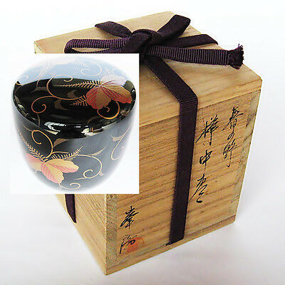 NT9 Lacquerware tea caddy Spring field Makie Natsume / Japan tea ceremony