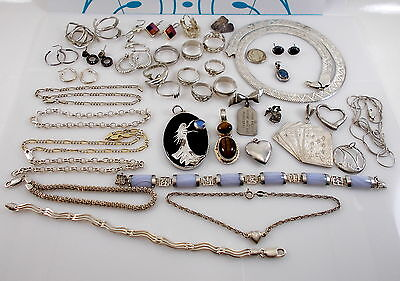 Sterling Silver Mixed Jewelry Lot Vintage Now NOT SCRAP 190.7 grams All Wearable