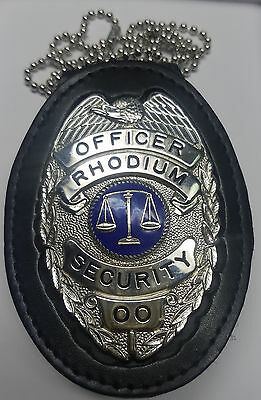 Officer - Rhodium Security - sample badge in a Neck Holder/Belt Clip combo unit