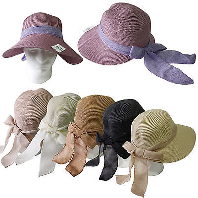 Women Cool Fashion Cap Floppy Wide Brimmed Summer Beach Bow Straw Sun Hat Ribbon