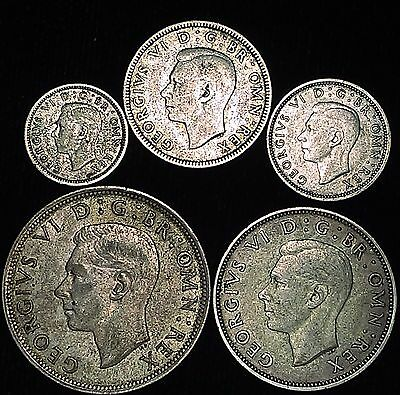 5 Silver Coin Lot – Great Britain George VI Collection