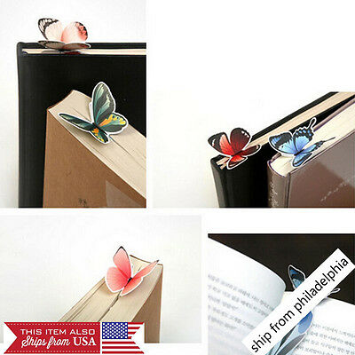 3Pcs Creative Butterfly Bookmark Cartoon Book Mark Paper Clips