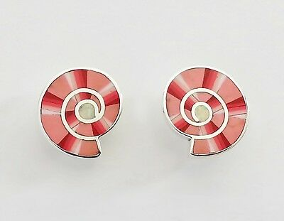 Wow Handcrafted Multicolor Inlay .925 Sterling Silver Studd Spiral Earrings