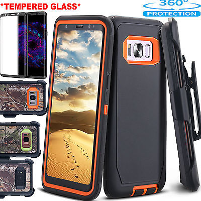 SAMSUNG GALAXY S9 Note8 S8 Case Tempered Glass Kickstand Belt Clip Holster Cover