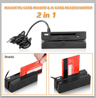 2 in 1 USB Track Magnetic Stripe Card Reader + IC Card Reader Writer 3 Tracks US