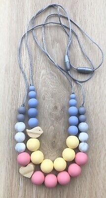 Silicone Wood (was teething) Necklace for Mum Jewellery Beads aqua Aus Gift