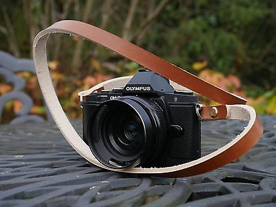 Handmade Leather Camera Strap by ATELIER BEBOP | Vintage Brown + Brass Screws