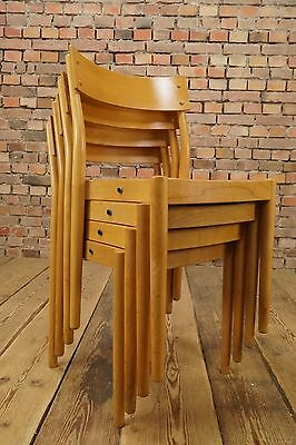 4 X Danish Modern Design Stacking Chair Set Fritz Hansen Denmark Vintage 1960s