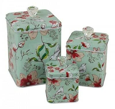 French Provincial Country Hampton Vintage Floral Tin Set of 3 Metal  Storage Box