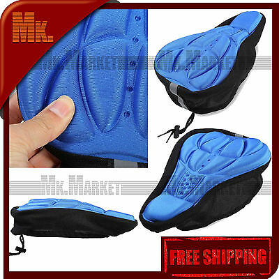 3D Silicone Bike Seat Pad Bicycle 3D Breathable Padded Silicone Cushion | BLUE