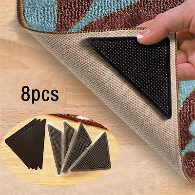 8pcs Reusable Triangle-shaped Anti-skid Stickers Great for Rugs Carpet Mats