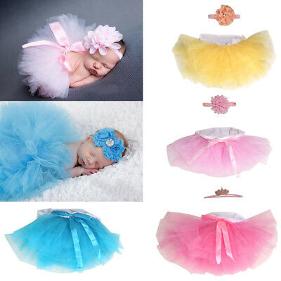 Kinder Baby Prinzessin Flauschig Tutu Rock Petticoat Fotoshooting Stirnband Rosa