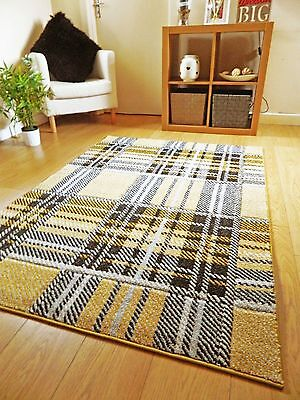 Small Large XL Modern Design Mustard Yellow Patterned Rugs Hall Runner Mats