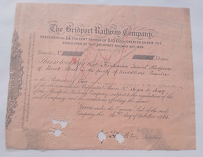 Bridport Railway Company Ten £10 Share Certificate 1861 Good condition.