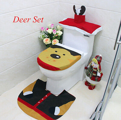 Lovely 3Pcs Christmas Deer Toilet Seat Cover Bathroom Set For Home decoration