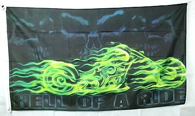 Big 1.5 Metre Hell Of A Ride Large New Flag 3x5ft Motorcycle Motorbike Biker