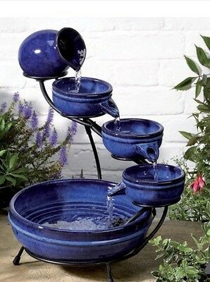 Bowl Cascade Water Feature Fountain Tiered Solar Powered Ceramic Design - Blue