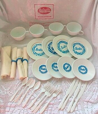 RARE Vintage RELIABLE CANADA Plastic Barbie Script Child PLAY DISHES In BAG