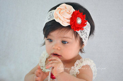 Baby Girls Headband Lace Flower Bow Elastic Band Hairband Hair Accessories