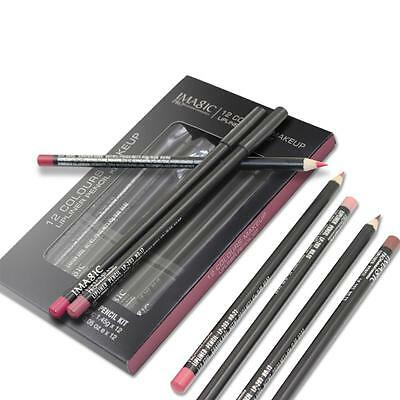 12 Colors/Set Eyeliner Waterproof Eyebrow Liner Lip Pen Pencil Popular RT