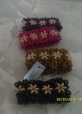 bracelets wooden one size stretch in 4 colours flower pattern