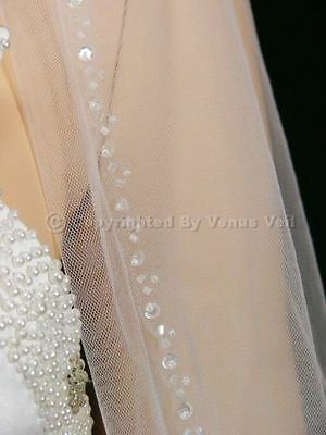 "1T White Bridal 36"" Fingertip Length Subtle Detail Beaded Edge Wedding Veil"