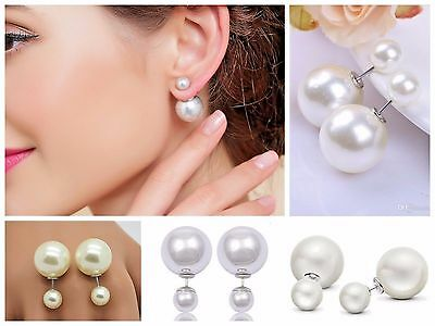 Double Pearl Stud Freshwater Earrings Silver Plated White Ivory Xmas Gift Party
