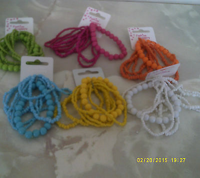 bracelets one size stretch in 6 colours beads 7 rows