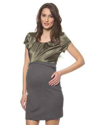 SALE Maternity Workwear Casual & Smart Olive Grey Dress Top Mamalicious WAS £35
