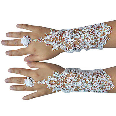 White, Ivory Pearl Lace Wedding Bride Bridal Gloves,Ring Bracelet SN