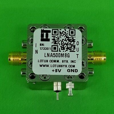 Broadband Low Noise Amplifier 1.3dB NF 0.5~8GHz 21dB Gain 20dBm P1dB SMA