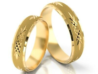 1 Pair Gold 585 Wedding rings Bands wedding rings with striking Pattern - W: 5mm
