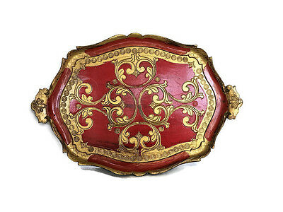 Vintage Florentine Tray Hollywood Regency Large Red and Gold Italian Tray